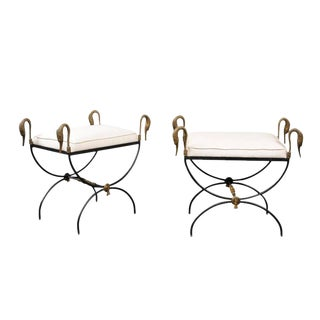 Pair of French Vintage Neoclassical Style Curule Iron Stools with Brass Swans