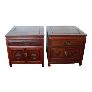 Vintage Ming Style Rosewood Nightstands - A Pair