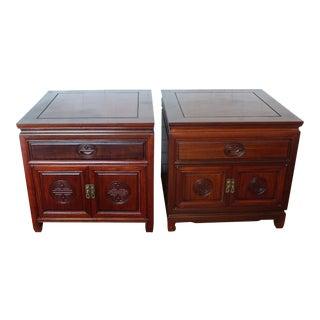 Vintage Ming Style Rosewood Nightstands - A Pair