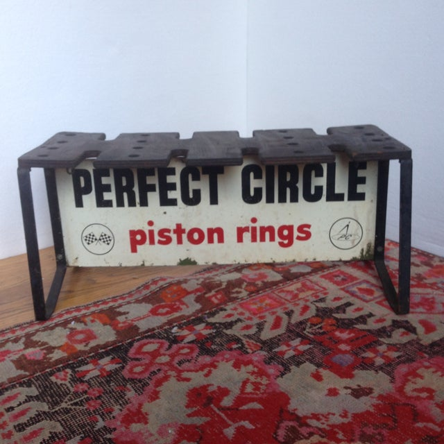 Vintage Piston Rings Sign Industrial Bench - Image 3 of 6