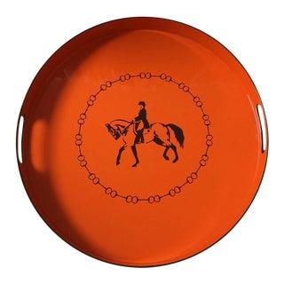 Hermes-Inspired Orange Equestrian Serving Tray