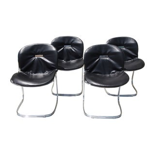 Italian Modern Steel & Leather Chairs - Set of 4