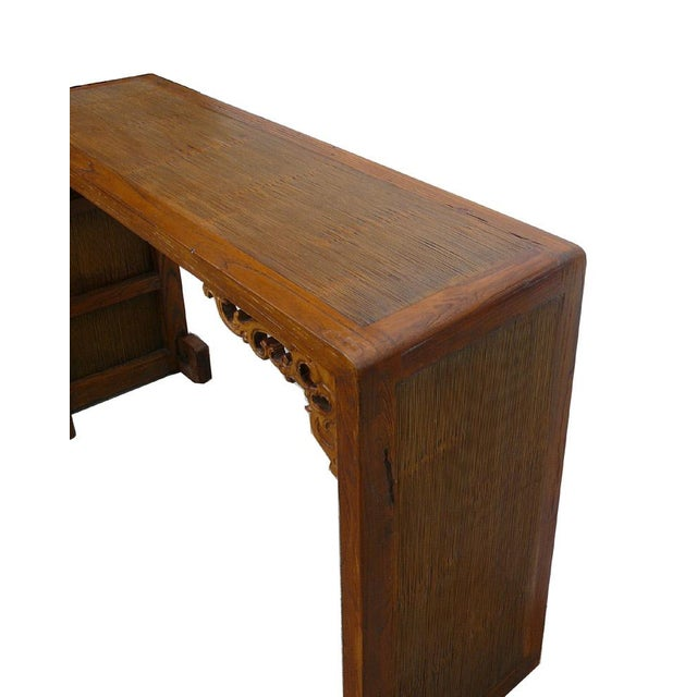 Chinese Elm Wood Bamboo Scroll Console Table - Image 5 of 5