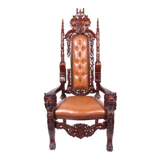 Mahogany Tufted Lion King Chair