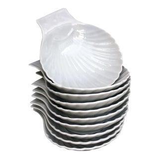 Apilco France Whiteware Porcelain Scalloped Shell Dishes - Set of 10