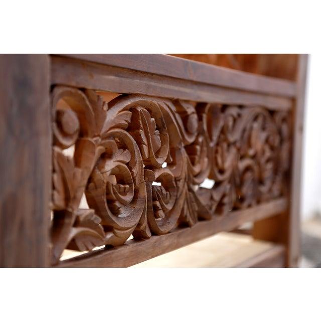 Image of Floral Hand Carved Teak Daybed