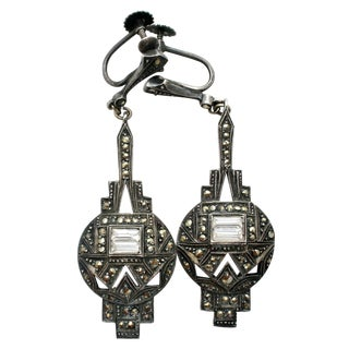 Art Deco Sterling Silver Crystal Earrings