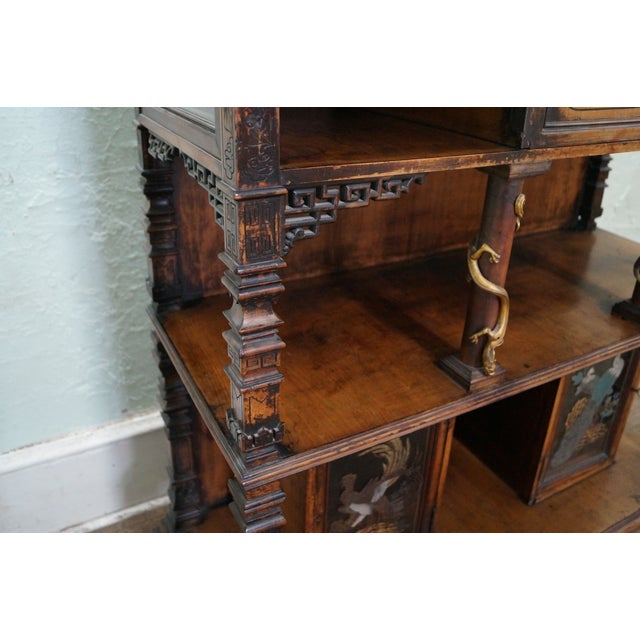 Image of Antique Chinese Bronze Dragon Mounted Cabinet