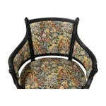 Image of Vintage French Tapestry Black Armchair