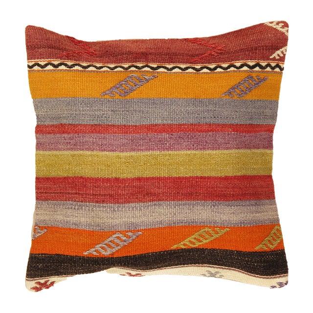 Striped Pasargad Decorative Vintage Kilim Pillow - Image 1 of 2