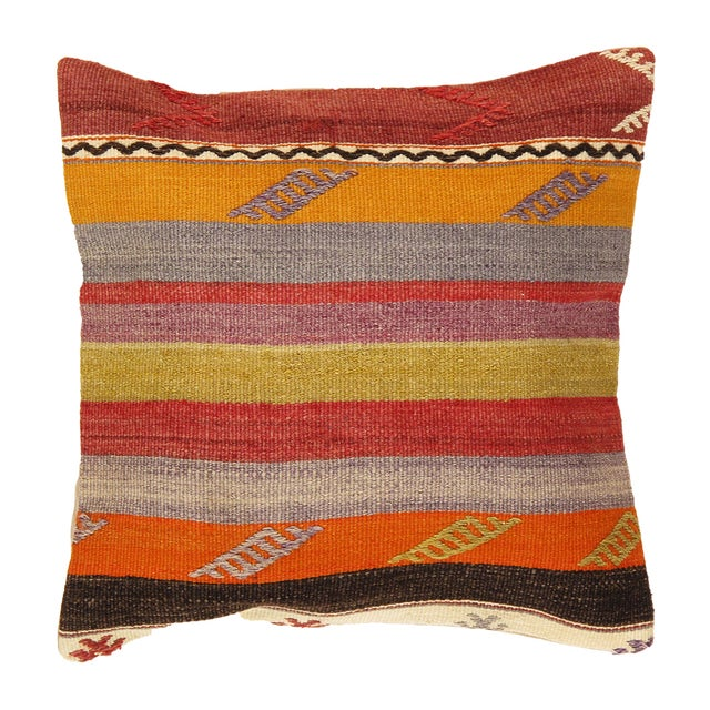 Image of Striped Pasargad Decorative Vintage Kilim Pillow