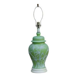 Mid Century Sprigged Green Ceramic Table Lamp