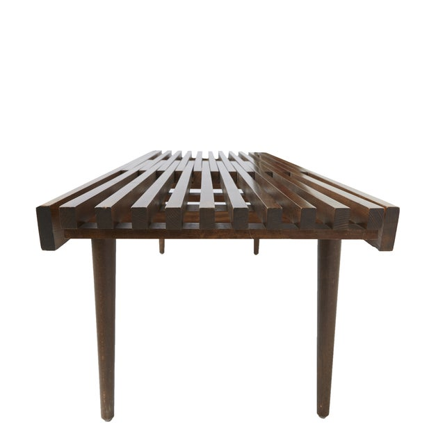 Herman Miller-Style Slatted Wood Bench - Image 3 of 6
