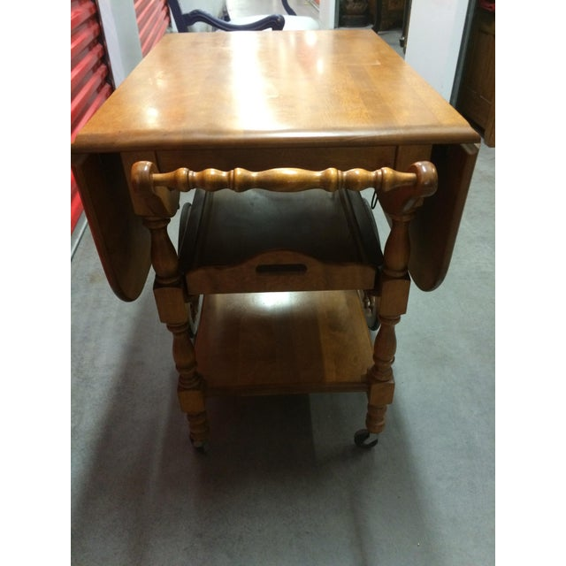 Vintage Solid Maple Drop-Leaf Tea Cart - Image 4 of 7