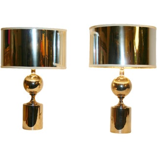 Maison Barbier Chrome Table Lamps - Pair