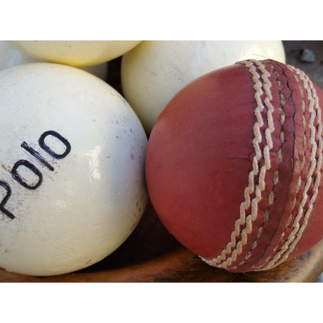 Victorian Wood Bowl With Cricket and Polo Balls - Image 4 of 5
