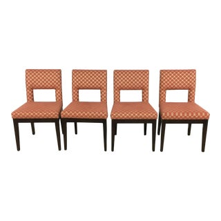 Contemporary Salmon & Gold Upholstered Dining Chairs - Set of 4