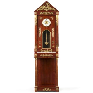Circa 1910 Egyptian Revival Empire Style Mahogany Longcase Clock