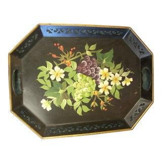 Vintage Black Floral Tole Tray