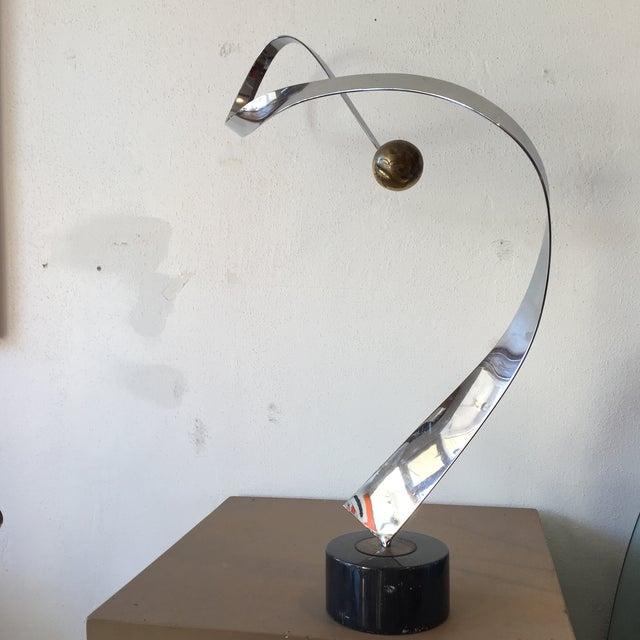Minimalist Modern Metal Sculpture on Marble Base - Image 3 of 10