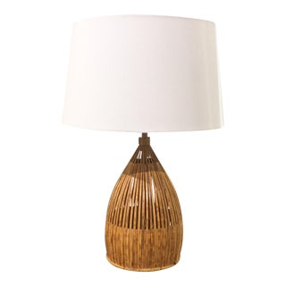 Mid-Century Bamboo Lamp with Linen Shade