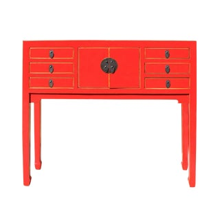 Chinese Distressed Red Narrow Foyer Table