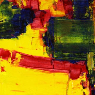 Paul Ashby Yellow, Red & Green Abstract Modern Oil Painting