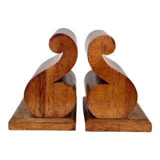 Wood Scrolled Bookends - A Pair