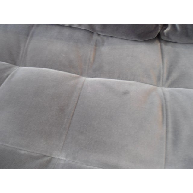 Shadow Gray Velvet Sectional, Left Chaise, Tufted Seating - Image 5 of 6