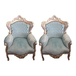 Velvet Tufted Ornate Rococo Armchair - Pair