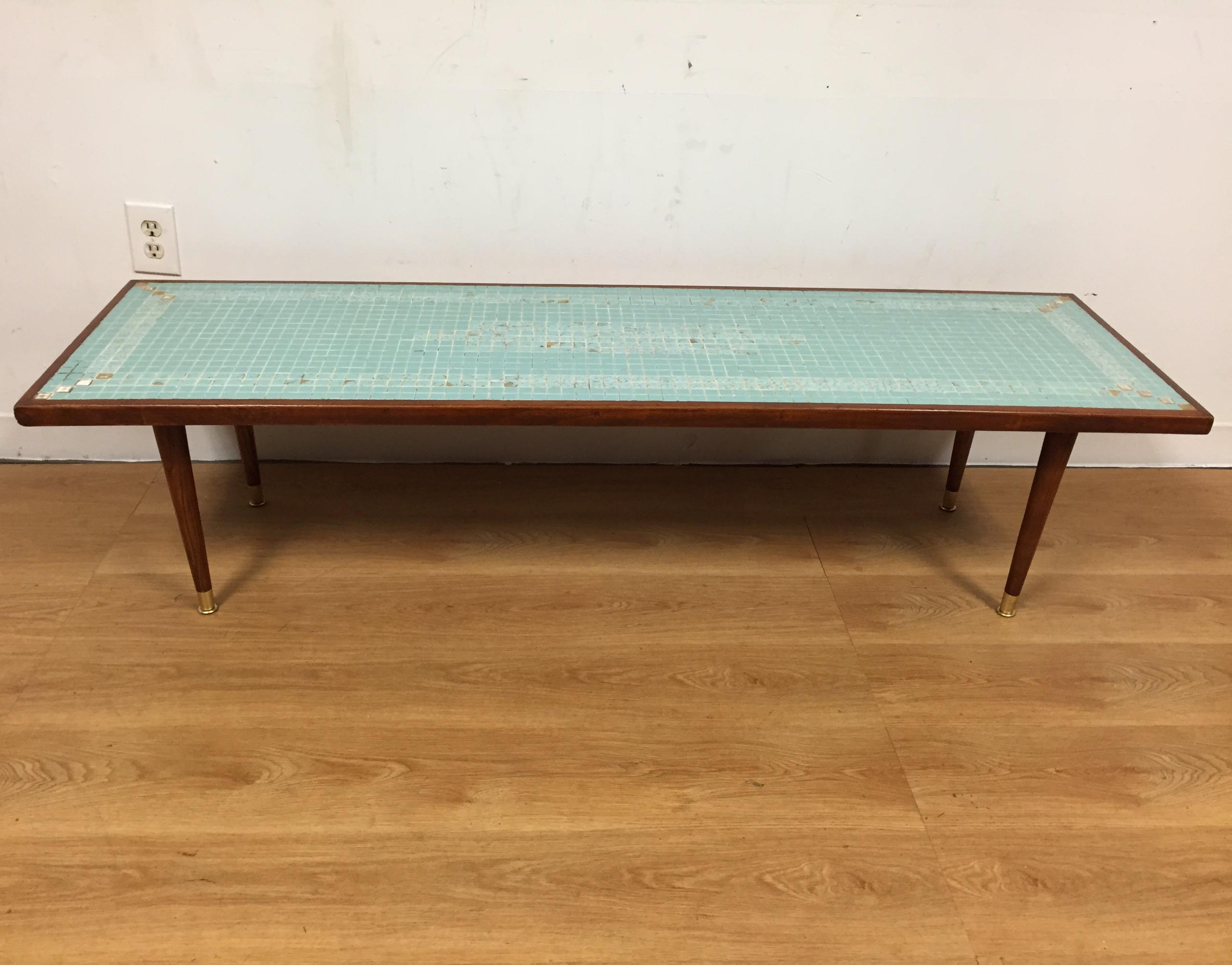 MidCentury Tile Top Coffee Table Chairish