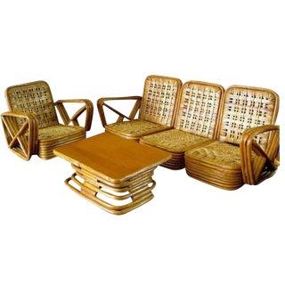 Paul Frankl Salesman Sample Miniature Rattan Furniture, circa 1950