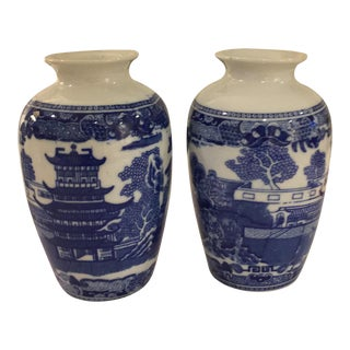 Victoria Ironstone Blue Willow Ginger Jars - A Pair