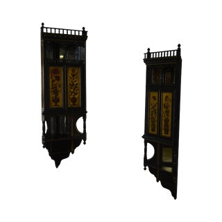 19th Century Antique Aesthetic Ebonized Hanging Corner Cabinets - A Pair