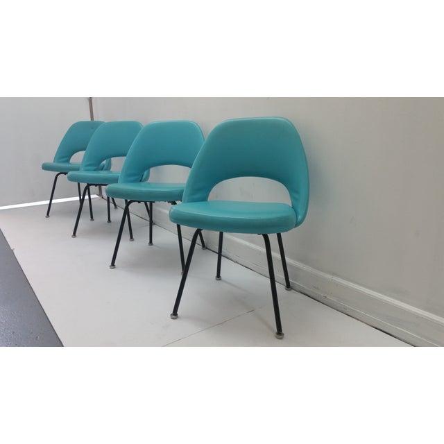 Eero Saarinen Turquoise Chairs - Set of 4 - Image 2 of 6
