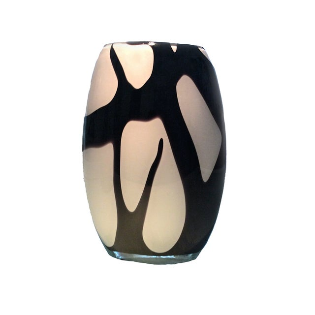 Murano Style Black and White Italian Glass Vase - Image 1 of 8
