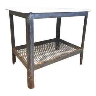 Vintage Industrial Enamel Top Steel Table