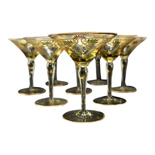 Venetian Amber Art Glass Gilt Martini Champagne Glasses - Set of 8