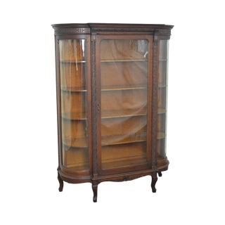 Antique Victorian Oak Bow Glass China Cabinet