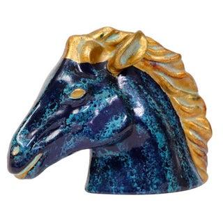 Aqua & Gold Mid-Century Pottery Stallion