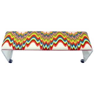 Lucite Waterfall Bench in Jonathan Adler Fabric