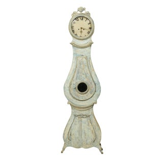 19th Century Swedish Clock with Floral Carved Crest