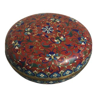 Large Chinese Qing Dynasty Red Cloisonné Round Box