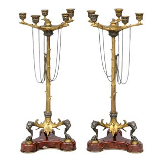 Antique English Pair Renaissance Revival Candelabra