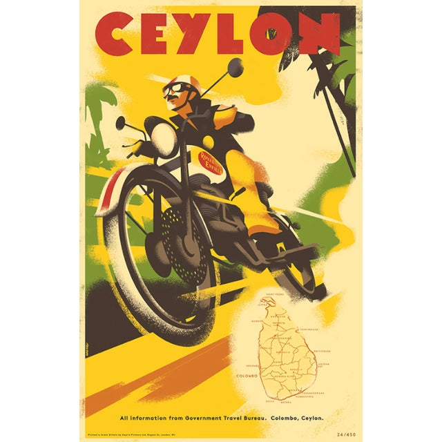 Image of Retro Travel Poster, Travel Ceylon W/Royal Enfield