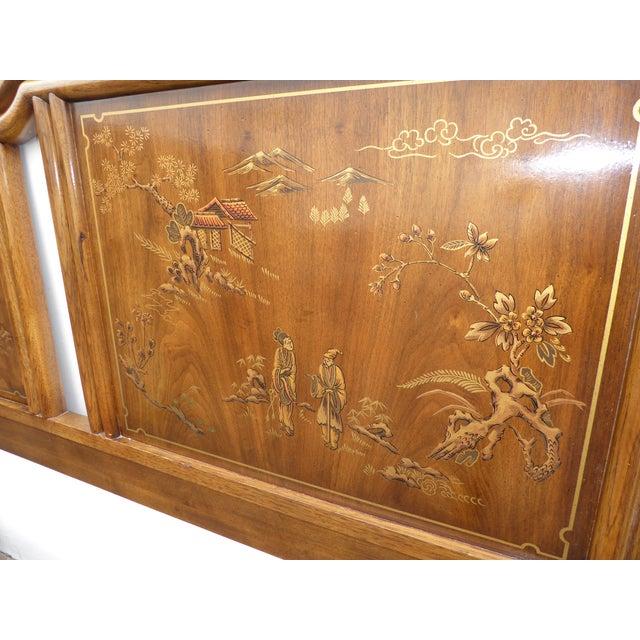Vintage Drexel Heritage Mid-Century Modern Floral Chinoiserie King Headboard - Image 8 of 11