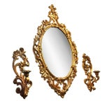 Image of Turner Mid-Century Gold Mirror & Sconce - Set of 3