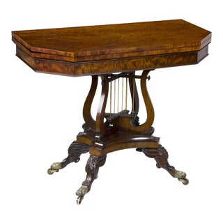 Classical Mahogany Games Table with Crossed Lyres