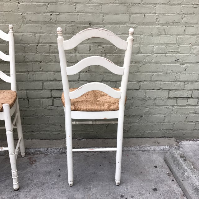 Painted Barstools with Rush Seats -- Set of 3 - Image 6 of 6