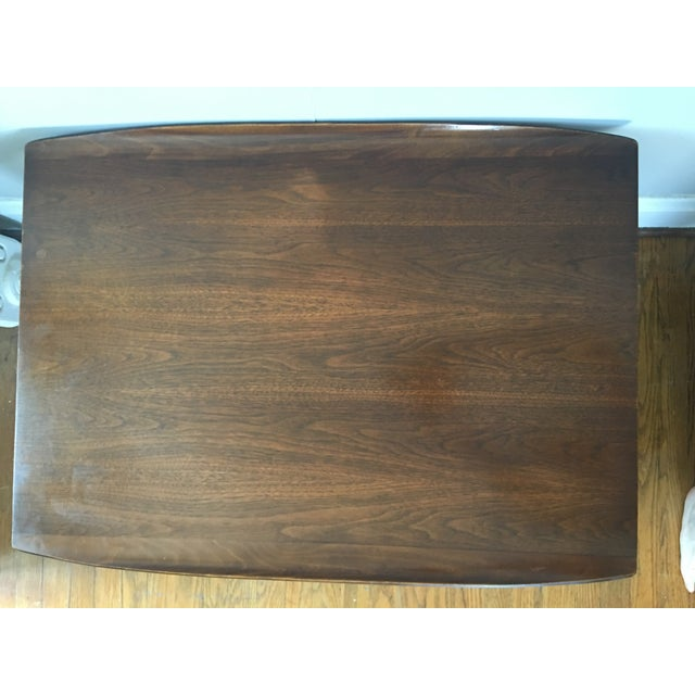 Bassett Walnut Surfboard Coffee Table: Mid Century Walnut Surfboard Bassett Tables - Pair